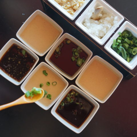 various sauces and mix ins