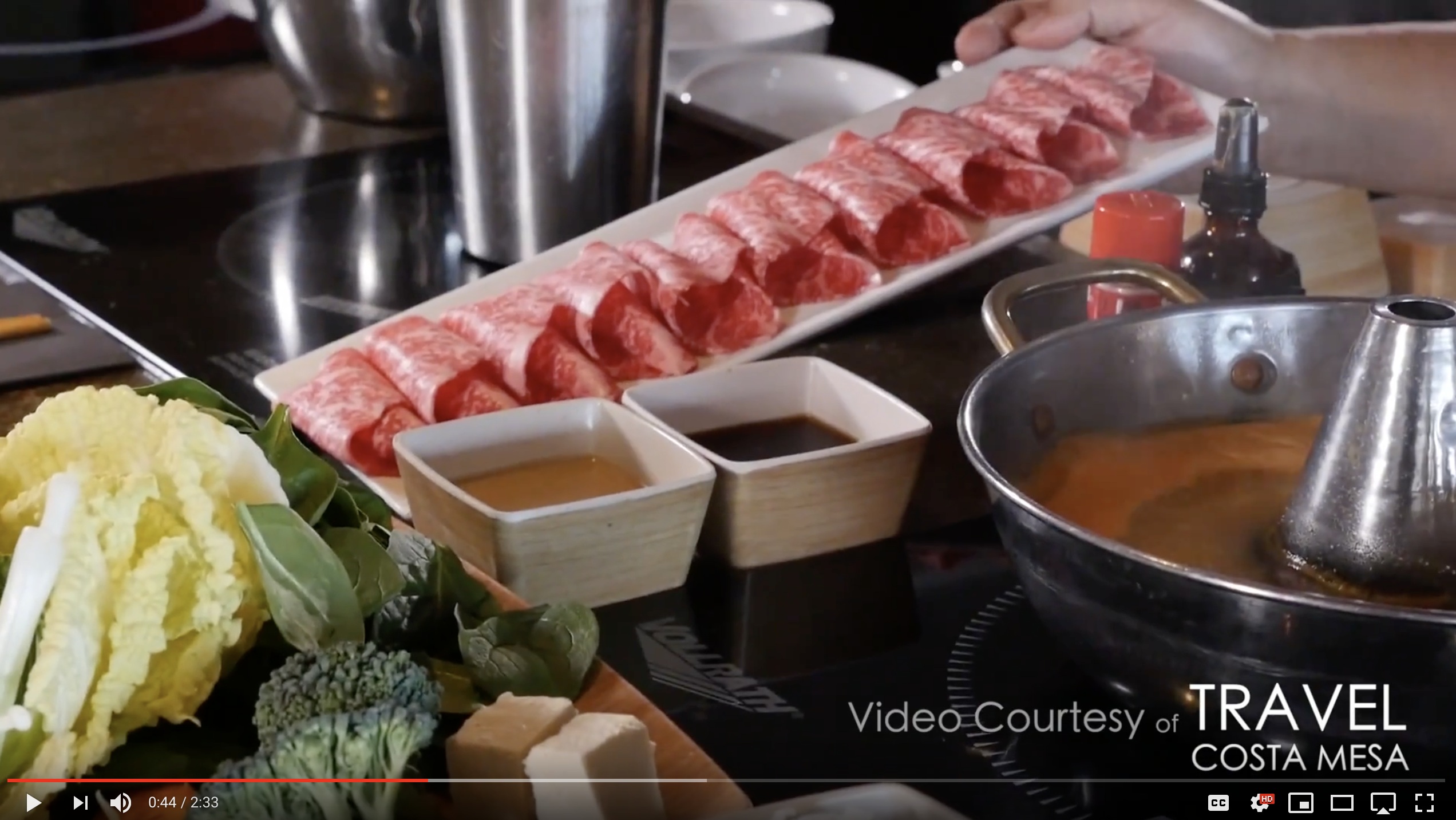 Screen shot of YouTube video featuring Tabu Shabu cuisine